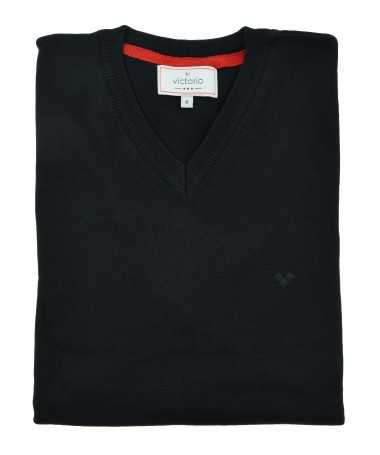 Black V-neck jumper Victorio S004