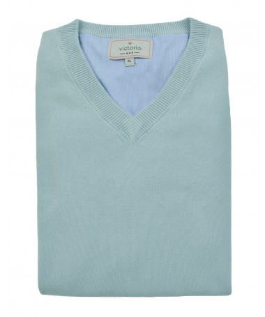 Grey V-neck jumper Victorio S07