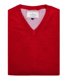 Red V-neck jumper Victorio S06